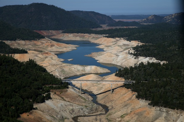 OROVILLE, CA - AUGUST 19: A section of Lake Oroville is seen nearly dry on August 19, 2014 in Oroville, California. As the severe drought in California continues for a third straight year, water levels in the State's lakes and reservoirs is reaching historic lows. Lake Oroville is currently at 32 percent of its total 3,537,577 acre feet. (Photo by Justin Sullivan/Getty Images)