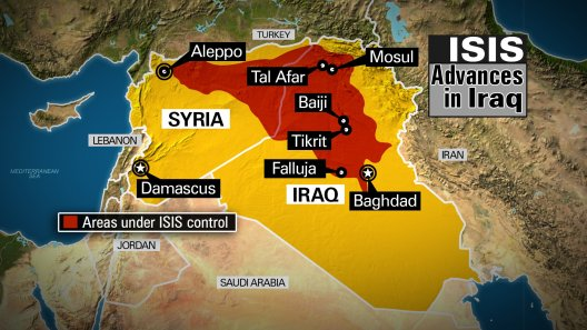 This map highlights the countries of Iraq and Syria in yellow. Areas under ISIS control are marked in red, along with ISIS controlled cities. NOTE: This map is current as of 6/16/2014.